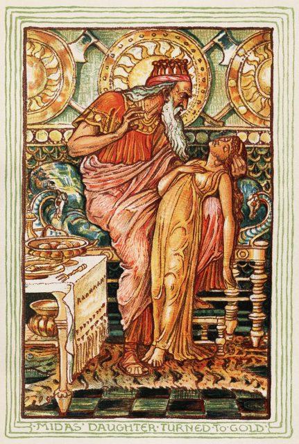 Todsünde Gier Midas verwandelt seine Tochter versehentlich in Gold (Walter Crane, 1893)